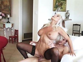 Elegant Older Blonde In Black Mesh Stockings Drinks And Receives A...