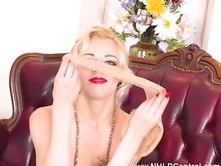 Dirty Little Blonde April Paisley Wanks In Crotchless Pantyhose And...