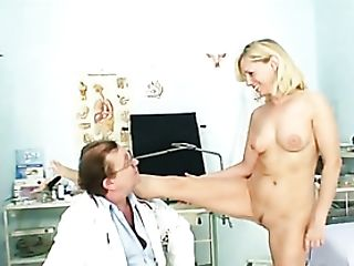 Physician Visit For A Blonde Looks Inwards Her Vulva