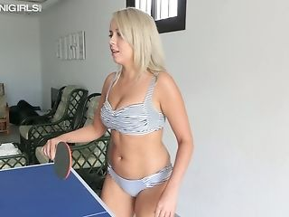Stripped To The Waist Tennis Woman Millie F Is Playing Table Tennis...