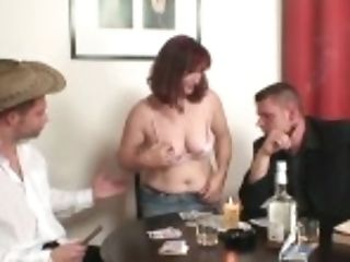"""""""red-haired Granny In Stockings Dual Fucked On The Table"""""""