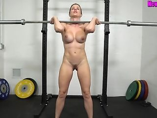 Muscled Mom Works Out Naked - Sport With Huge-boobed Blonde Mummy...