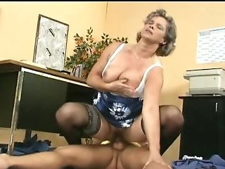 Horny Granny With Gray Hair Gets Fucked By A Gorgeous Stud