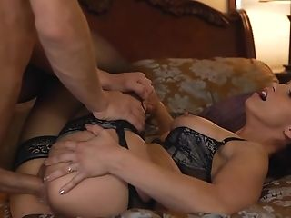 Hot Ginger-haired Mummy In Black Underwear Plays With Her Gardener...