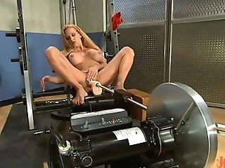 Huge-chested Sandy-haired Tart Gets Rammed By Orgy Machines In The Gym