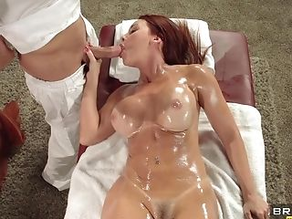 Oiled Red-haired Mummy Is Providing A Bj For A Massagist
