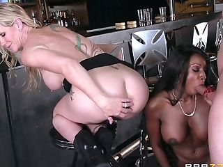 Black Dark-haired In Crimson Sundress And Ivory Blonde In Black...