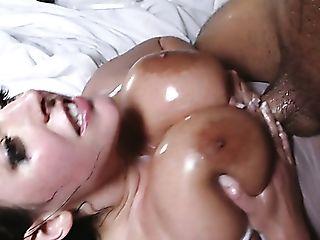 Giant Boobed Gorgeous Mummy Angela Milky Gets Well-lubed Labia...