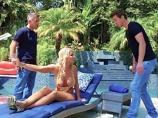 Lewd Platinum-blonde Cougar London Sea Hooks Up With Two Nextdoor...