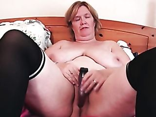 Big Old Lady Plays With Her Fat Tits