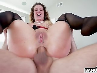 Rough Vag And Butt-pounding By Two Dudes Makes Cherie Deville Jizm