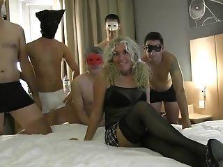 Skinny Blonde Superslut Takes It In Every Fuck Hole From Five...