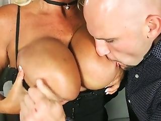 Suntanned Blonde Mummy With Pointy Nips Gets Butt-fucked Raw