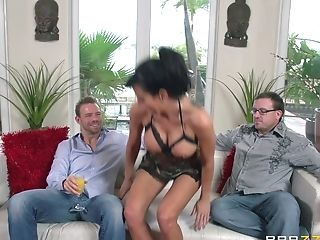 Bombshell In Camo Undergarments Gets Boned Hard On A Couch While...