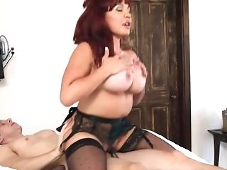 Red-haired Bimbo In Black Stockings Gets Fucked So Damn Well By Her...