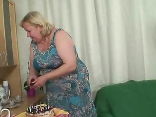 Granny Gobbles Fuck-stick On His Bday
