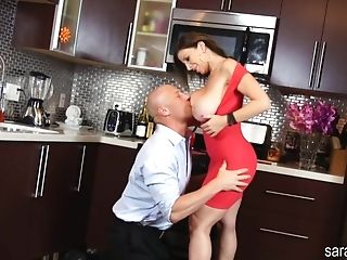 Alluring Housewife In Sexy Crimson Sundress Taunts Her Bald Hubby...