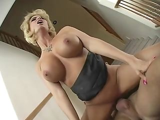 Blonde Wifey In Blue Half-top And Black Miniskirt Cheats On Her...