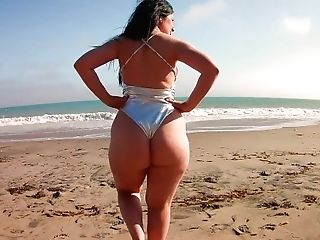 Sugary Lopez Silver G-string Swimsuit