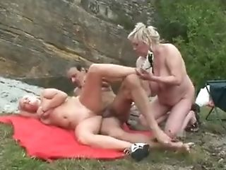 Youthful Woman Joins Matures Duo For Outdoor Threesome
