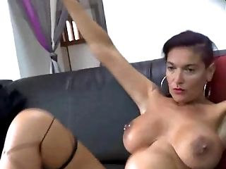 Brunette big butt milf gets gangbang in a hotel