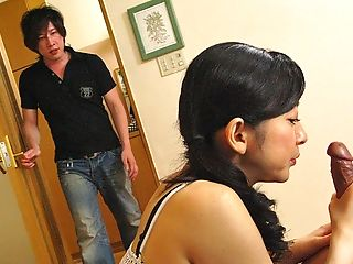 Buxomy Japanese Mom In A Ponytail Draping Out With Two Junior Dudes