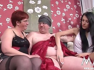Huge-boobed Black-haired Offers Blimp In Glasses And His Fat Wifey...