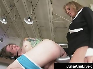 Chesty Blonde Cougar Julia Ann Pegs Her Boytoy As Payback!