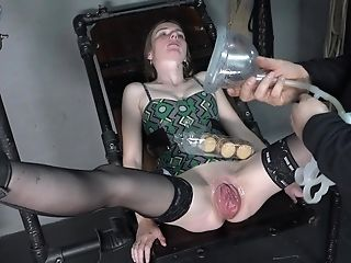 Skinny Woman Is Fisted. Cooch Pump And Fist Insertion.