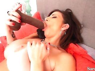 Mummy Sara Jay - Huge-boobed Mom Masturbating Solo With Two Fucktoys