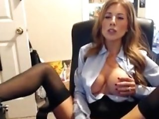 Nasty Assistant Big Tits Playing With Faux-cock
