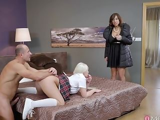 Mom And Teenage Open Their Fuckholes For A Big Erected Dick