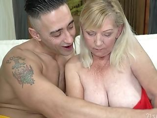 Old Woman Irene Helps One Stunning Youthful Dude And Gets Her Vulva...
