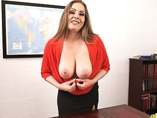 Office Bitch Sophia Delane Shows Off Her Big Jiggly Natural Jugs