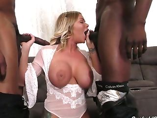 Youthfull Light-haired Wifey Rachele Richey Goes Black In Front Of...