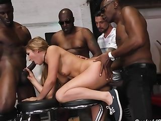 Amazing Interracial Gang-fuck With Horny Blonde And Black Studs
