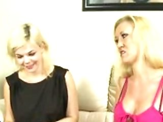 Two Sexy Blondes Share A Stiff Prick
