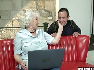 Milky Haired Gilf Plowed By Youthful Dick