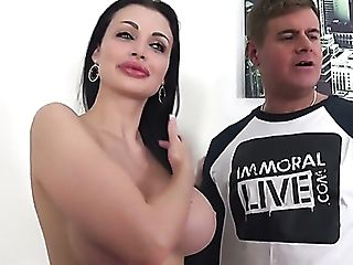 Horny Dude Cannot Stop Squeezing Yam-sized Boobies Of Aletta Ocean...