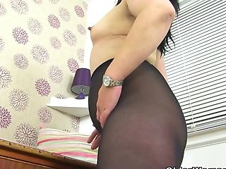 English Mummy Candylips Looks Hot In Black Stocking