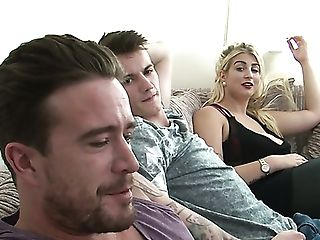 Chesty Whorish Wifey Megan Clara Desires About Railing Strong Prick