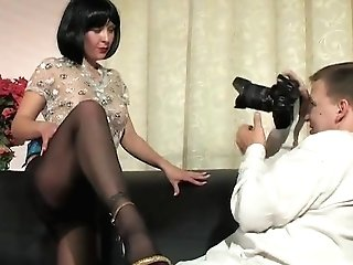 Black Pantyhose And High-heeled Shoes Cougar Fucked