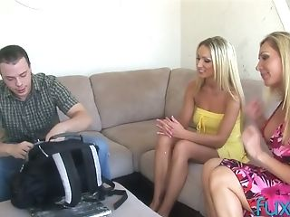 Non-traditional Dude Fucks Two Romp-appeal Blondie Honeys And Jism...