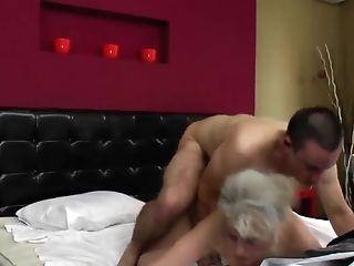 Youthfull Boy And Old Hairy Granny Fucking