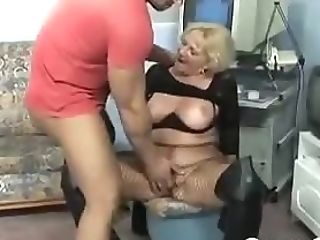 Horny Grand-ma In Fishnets