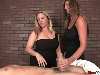 Dual Dick Rubdown For A Blessed Boy By Two Big Natural Tits Honies