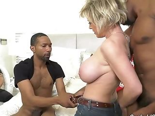 Voluptuous Blonde Woman With Big Tits Got Down And Dirty With Three...