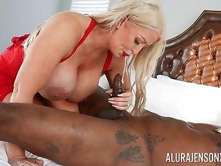 Blonde Superstar Alura Jenson With Massive Tits Rails A Big Black Cock