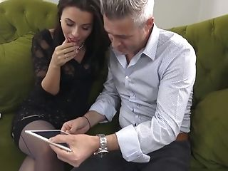 Dark-haired Matures Honey Vicky Love Wears Stockings As Her Muff Is...