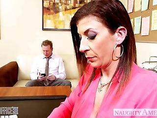 Dark haired mummy Sara Jay fucking in the office